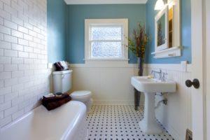 Bathroom with shades of blue